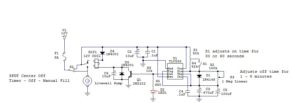 Netbook To Chartplotter Project: Livewell Timer Circuit  Simple Recycle Timer