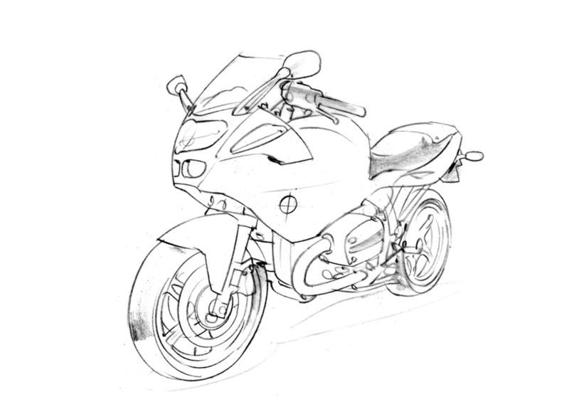 On Two Wheels: Line drawings
