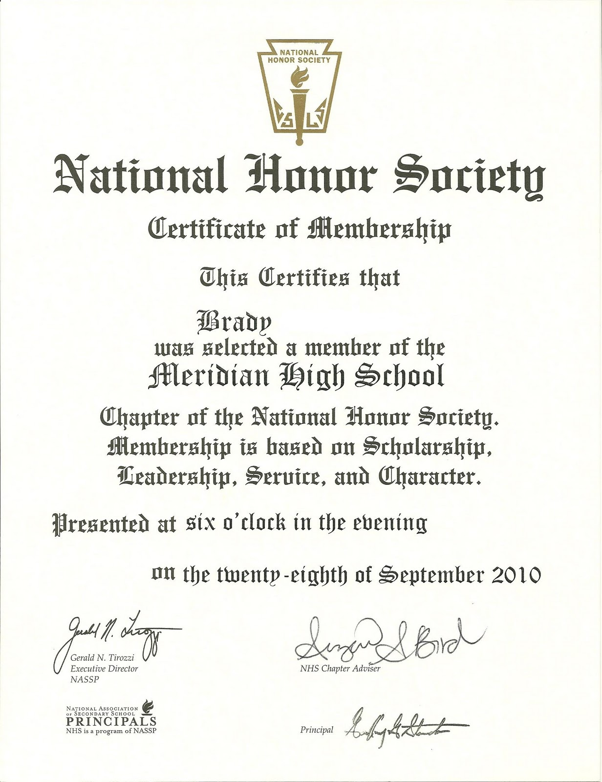 National honor society certificate of membership template.