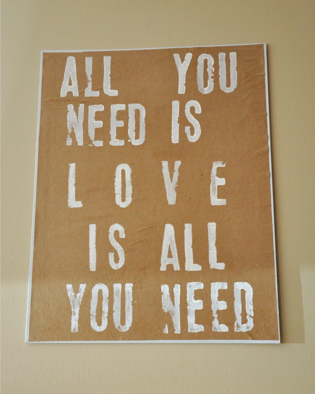 she 39 s crafty all you need is love diy sign. Black Bedroom Furniture Sets. Home Design Ideas