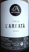 Detall etiqueta Finca l'Argatà 2004 del Celler Joan D'Anguera