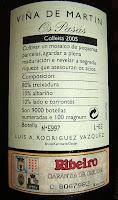 Contraetiqueta de Viña de Martín Os Pasás 2005, D.O. Ribeiro
