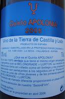 Contraetiqueta de la botella de vino Quinta Apolonia 2005