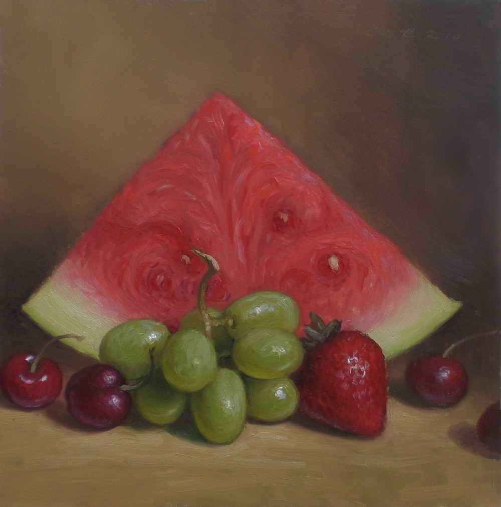 """Painting Walls In Shades Of Melon: Debbie's Art Space: """"Watermelon Still Life"""""""