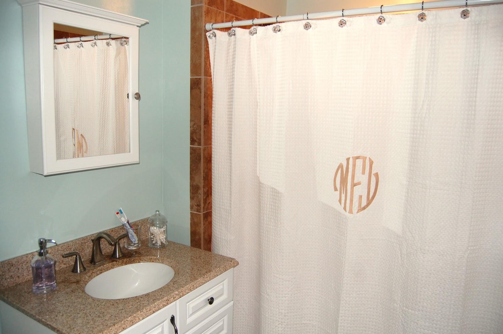 Pottery barn monogrammed shower curtain myideasbedroom com