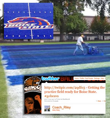 Oregon St. paints their practice field blue
