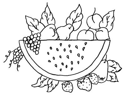 desenhos para colorir frutas uvas pera e melância para colorir