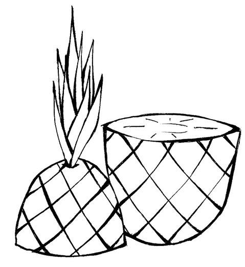 Desenho De Abacaxi Para Colorir. Desenhos De Frutas Para