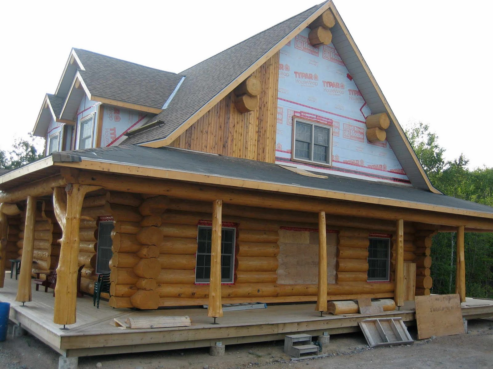 Log House Progress Angara At Blind River Gable Ends