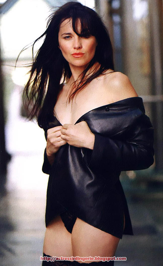 Lucy Lawless In All Black Lingerie