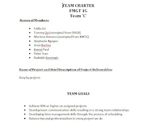 The team charter consists of our goals roles responsibilities process evaluation and ground rule is what also ep organizational behavior rh tran portfoliospot