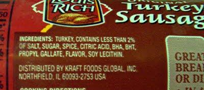 Louis Rich Turkey Sausage packaging
