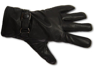 Black Leather Adjustable Driving or Costume Cosplay Gloves