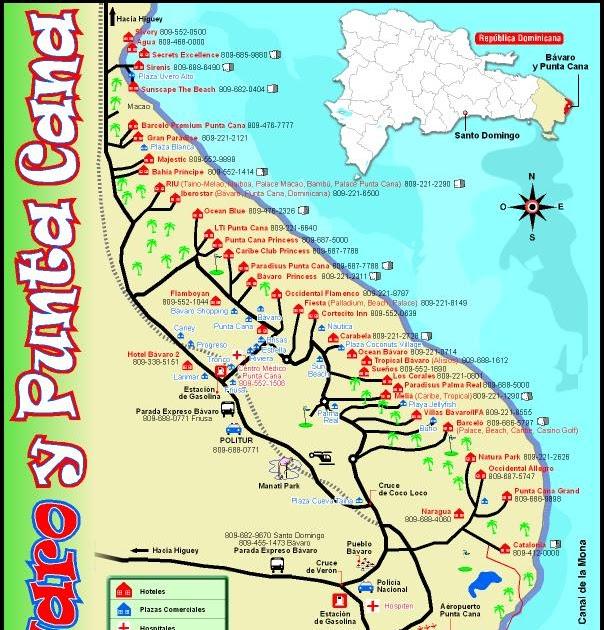 mapa de punta cana RD en fotos: Mapa turístico de Bávaro y Punta Cana mapa de punta cana