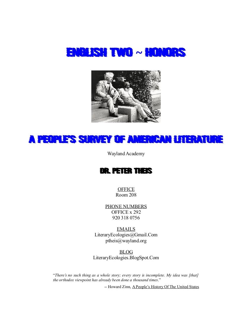 LITERARY ECOLOGIES