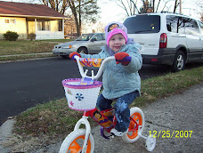 Rebecca on her Dora bike