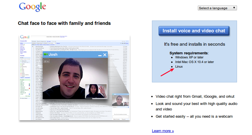 Google Launches Video and Voice Chat for Linux, Finally!