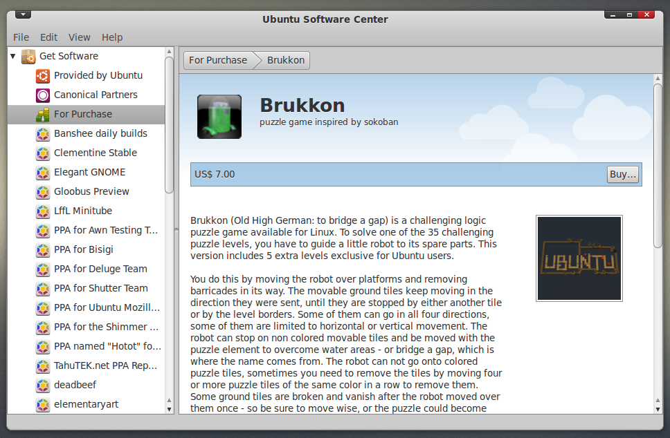 Brukkon Puzzle Game is Now Available for Sale in Ubuntu