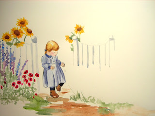 Watercolor painting of little girl in Victorian era clothing