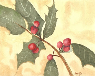 Holly Watercolor painting by Angela Fehr
