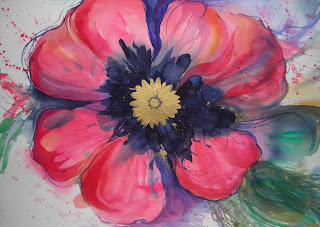Gypsy Poppy painting in watercolor by Angela Fehr