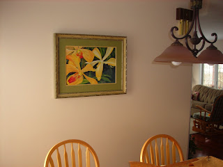 Freckled Orchids painting hanging at home
