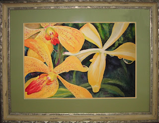 Freckled Orchids Painting framed