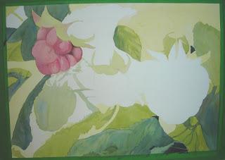 Progress photo of painting of raspberries