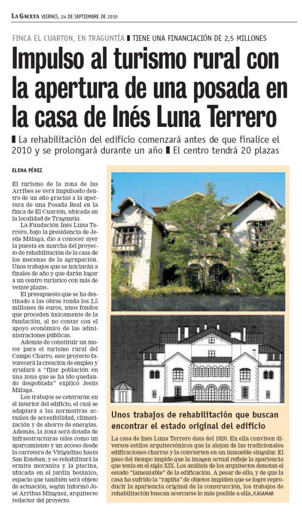 Tierra charra impulso al turismo rural con la apertura de - En la casa de ines ...