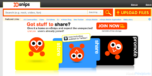 Compartir Fotografías en Línea - eSnips - menteprincipiante.com