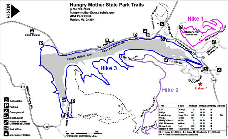 Marion Virginia Map.Gone Hikin Hungry Mother State Park Marion Va