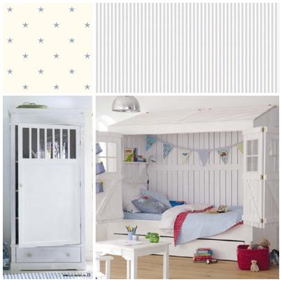 Bett im Landhausstil, Schwedenstil, Weiss, Kinderzimmer