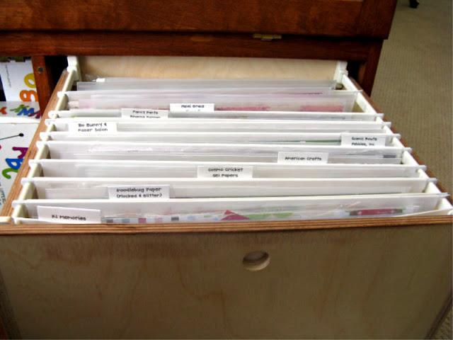 12x12 Hanging File Cabinet Drawers for 12x12 Scrapbook Paper by Mendi Yoshikawa
