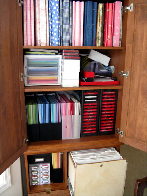 Snippets By Mendi: Custom Scrapbook Cabinet to Hide Craft Supplies in Dining Room