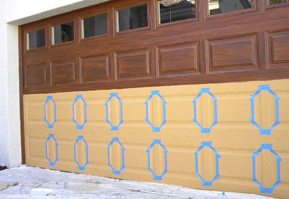 Painting garage technique shown everything i create for Painting garage door to look like wood