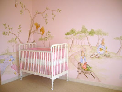 Peter rabbit nursery murals for Baby wall mural ideas