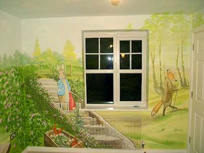 Peter rabbit nursery murals for Beatrix potter mural wallpaper