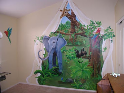 Girl anime wallpapers wallpaper jungle theme for Baby jungle mural