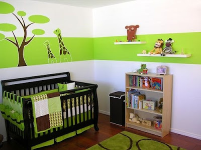 Green-decorated-baby-room-with-modern-bed-and-shelves