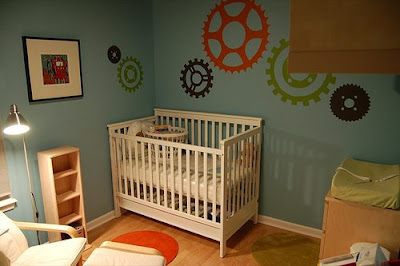 Modern nursery decor for Robot baby room decor