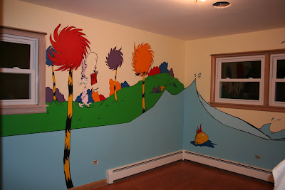 Dr seuss inspired nursery murals for Dr seuss mural nursery