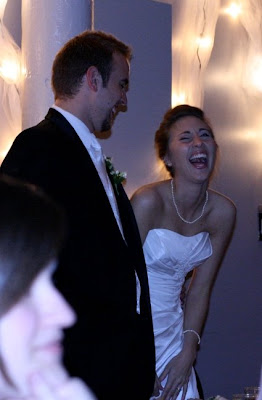 bride and groom reacting to the Thriller dance by the bride's family