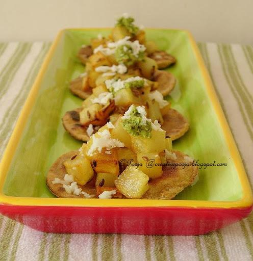 My creative ideas bottle gourd rajgara paratha canap for Canape yam but