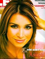 News reader Asligül Atasagun on cover of society magazine Alem