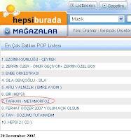 Tarkan in Hepsiburada's Top 10