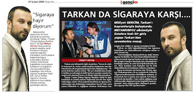 Tarkan's report in February issue of Turkish paper Milliyet's youth supplement Gencim