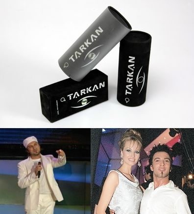 Presentations: Turkish shopping site for decorative boxes sells Tarkan's 2004 perfume boxes; Tarkan on stage for the gala of his 2003 Dudu album at Club Reina in Istanbul (© Utku Tonguç Topal); Tarkan pictured with Adriana Karambeu, the model who presented him with his 1999 World Music Award in Monaco