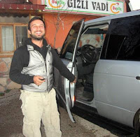 Tarkan outside the fish restaurant