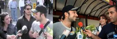 Tarkan speaking to reporters outside Antalya airport before that evening's private show, May 2007