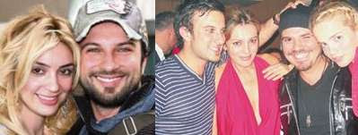 Tarkan pictured with long term partner Bilge Öztürk (right), and with his musician friend Kenan Doğulu at Tarkan's 2003 birthday party (left)